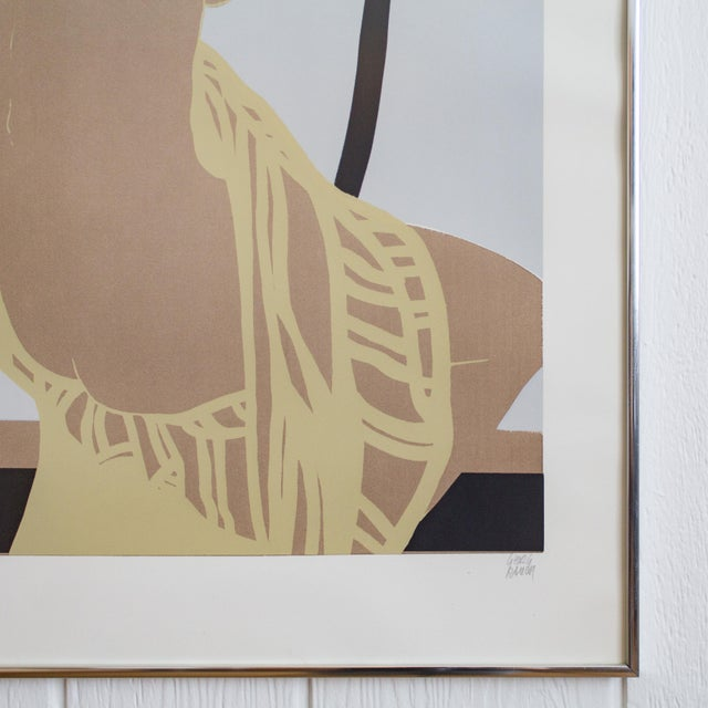 Nude Color Block Linocut Print by Georg Rauch Titled Nicole 1960s - 1970s For Sale - Image 6 of 12