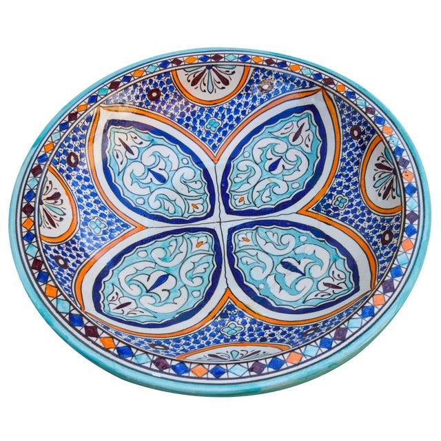 Tribal Andalusian Motif Ceramic Bowl For Sale - Image 3 of 9