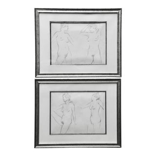 2 Original Nude Pencil Sketches-Mid Century Era For Sale