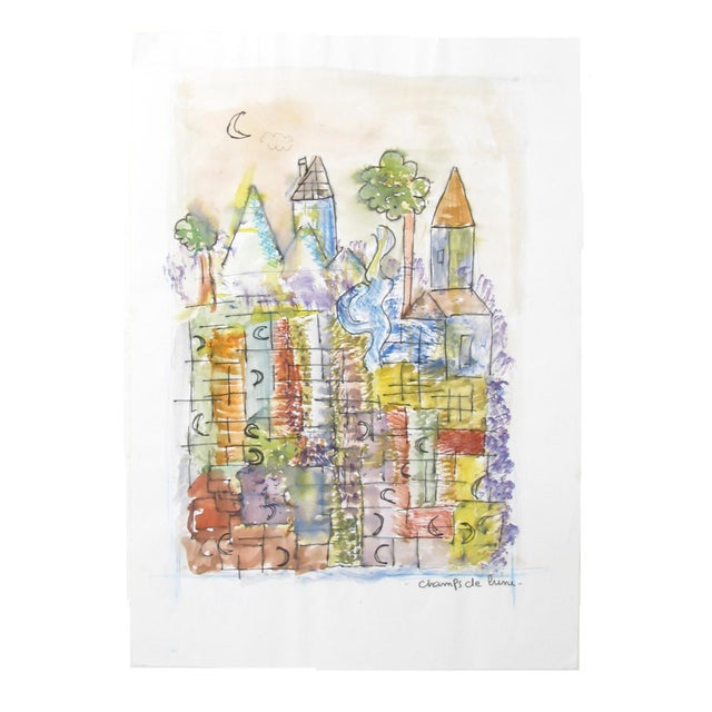 French Cubist Abstract of Moonlit Village For Sale