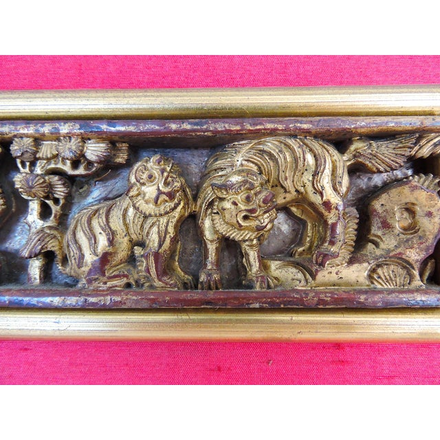Red Antique Chinese Raw Silk & Carved Gilt Wood Wall Hanging/Panel For Sale - Image 8 of 9