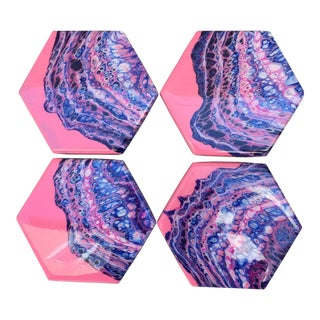 Hand Poured Pink & Purple Ceramic Coasters - Set of 4