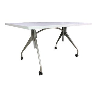 """Mid-Century Modern Eames Aluminum Group Style Model """"Envelop"""" Desk Writing Table by Herman Miller For Sale"""