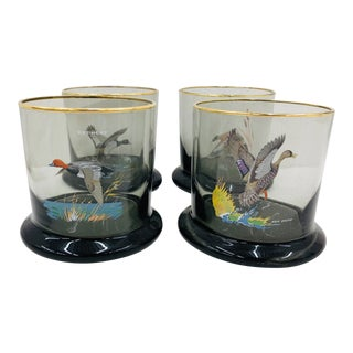 Set Vintage Smoke Glass Tumblers For Sale