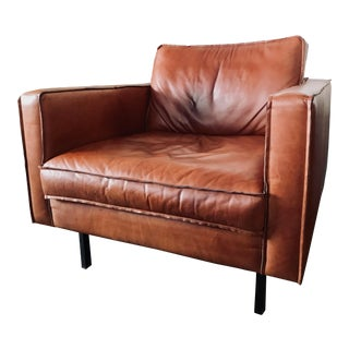 Mid-Century Modern Leather Buster Arm Chair For Sale