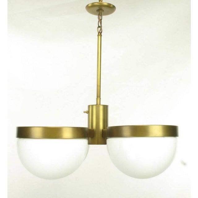 Brass Feldman Lighting Five-Light Hemispherical Milk Glass and Brass Pendant For Sale - Image 7 of 10