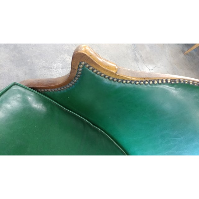 Vintage Baker Furniture Green Leather Library Chairs - A Pair For Sale - Image 9 of 10
