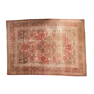 "Vintage Distressed Tabriz Carpet - 10'3"" X 14'2"" For Sale"