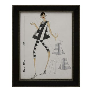 Framed Fashion Drawing and Watercolor Signed Ruben Robledo For Sale