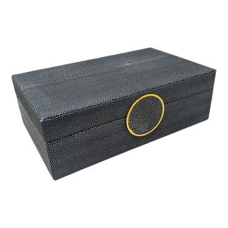Faux Navy Blue and Cream Shagreen Decorative Box With Gold and Shagreen Embellishment For Sale