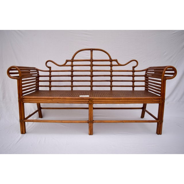 Lane Furniture Bamboo Caned Rattan Chinoiserie Sofa For Sale - Image 9 of 13