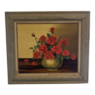 1920s Floral Still Life Oil Painting, Framed For Sale