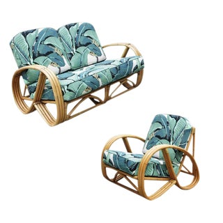 Round Pretzel Restored Rattan Lounge Chair & Sofa Set For Sale