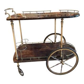 1950s Aldo Tura Goatskin and Brass Bar Cart For Sale