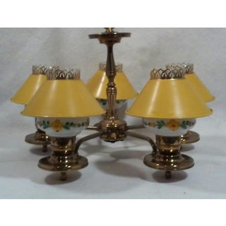 1950's Yellow Tole and Floral Chandelier Preview