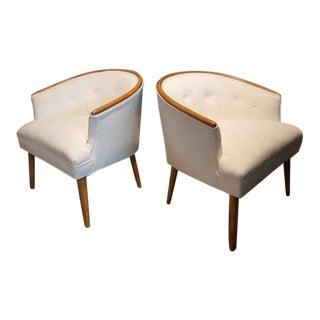 Harvey Probber Style Mid-Century Mahogany & Velvet Armchairs - a Pair