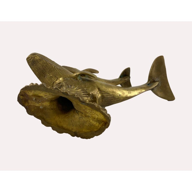 Art Deco Brass Humpback Whale and Calf Model For Sale In Boston - Image 6 of 7