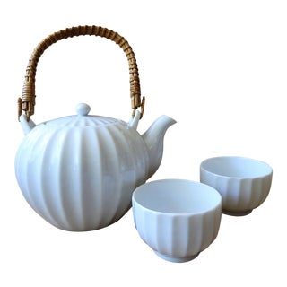 White Porcelain Green Tea Set For Sale