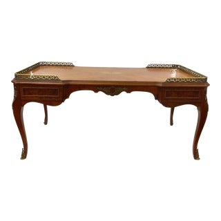 Antique Inlaid Glass Top French Coffee Table For Sale