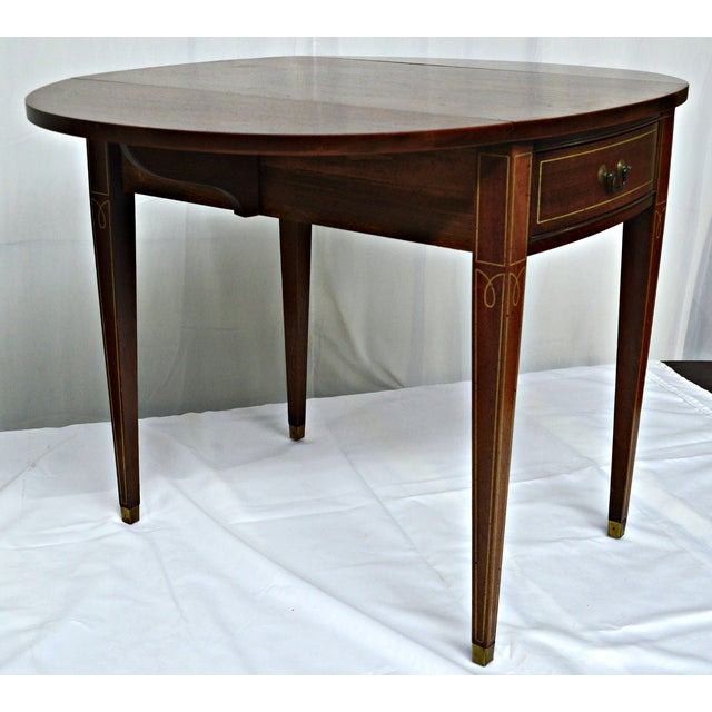 Hickory Chair Co. Oval Wood Side Table with Wings For Sale - Image 7 of 11