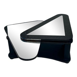 1980s Postmodern Black Laminate and Mirror Swivel Coffee Table For Sale