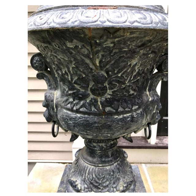 Monumental Antique Covered Cast Iron Urns on Plinths and Lion Head Handles, Pair For Sale - Image 4 of 11