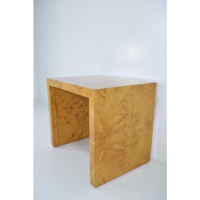 Black 1970s Milo Baughman Burl Wood Side Table For Sale - Image 8 of 12