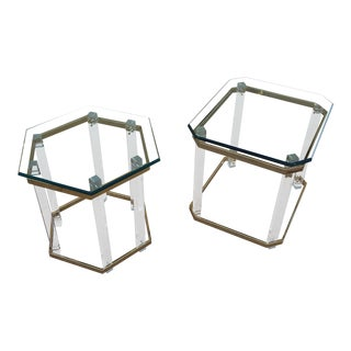 1970's Mid Century Lucite, Brass & Glass Side Tables - a Pair For Sale