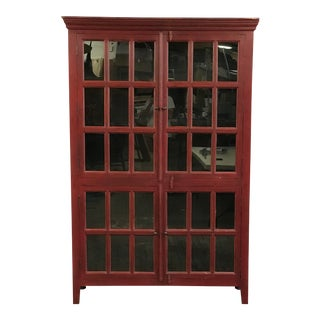 Contemporary Shaker Style Burgundy Breakfront Storage Cabinet