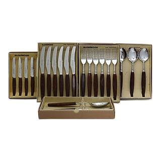 Mid-Century Glosswood Cutlery - Svc for 6 For Sale