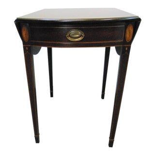 Mahogany Hepplewhite Inlaid Pembroke Dropleaf Table by Kittinger For Sale
