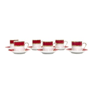 Crimson & Gold Porcelain Coffee / Espresso Set For Sale