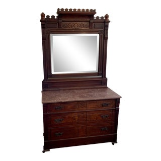 Arts and Crafts Rose Marble-Top Dresser With Beveled Mirror For Sale