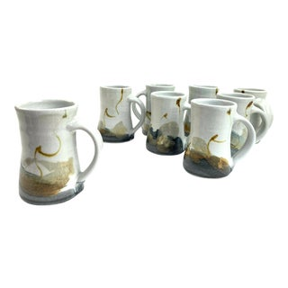 Hand-Thrown Stoneware Glazed Mugs, S/8 For Sale