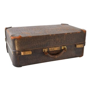 Vintage Antique Walrus Leather Hardcase Suitcase For Sale