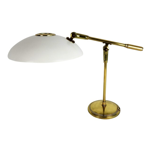 Mid-Century Saucer Desk Lamp on Brass Base For Sale