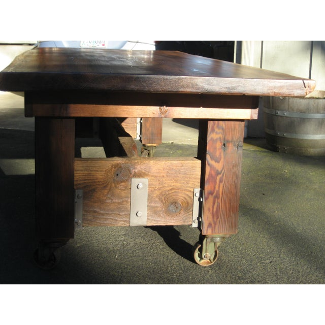 Custom Furniture Builders Hand Crafted Live Edge Red Cedar Slab Table For Sale - Image 4 of 10