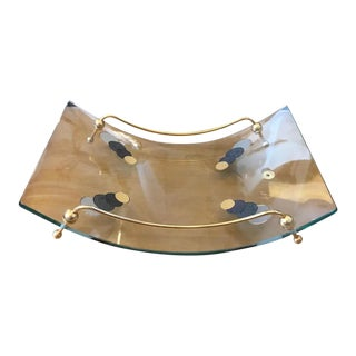 1980s Italian Mid-Century Modern Curved Glass and Brass Magazine Rack For Sale