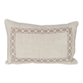 Oatmeal Linen Fretwork Lumbar Pillow For Sale