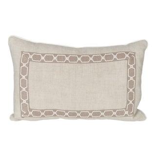 Oatmeal Linen Fretwork Lumbar Pillow