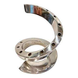 Late 20th Century Chrome Spiral Candleholder by Dansk For Sale