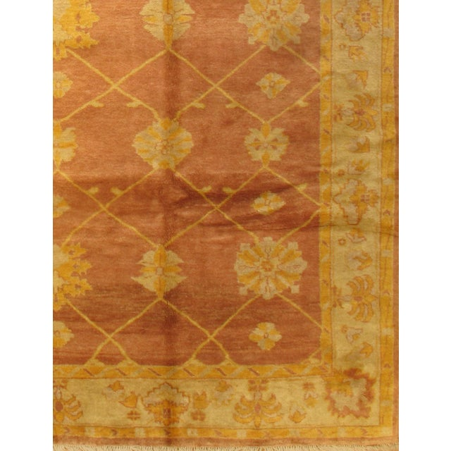 Very decorative Indo Oushak Handmade hand-knotted. Lamb's wool on a wool foundation. Hand-spun wool rug Vegetable Dyed...