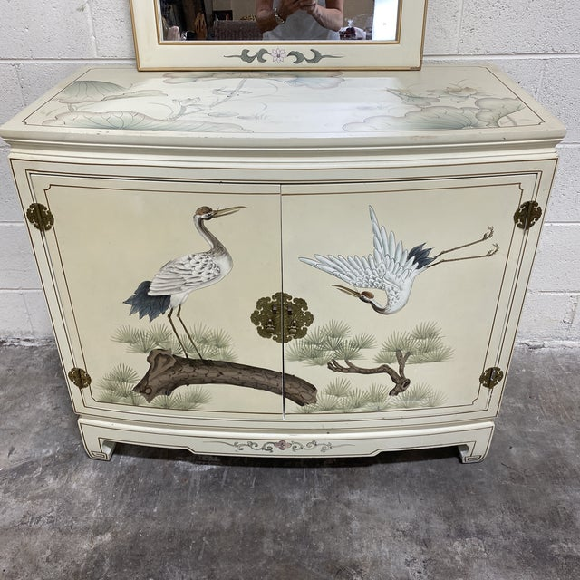 Hand Painted Asian Style Chest With Matching Mirror For Sale - Image 4 of 12