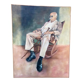 Oversized Oil Portrait of a Man by Mary Pierce, Framed For Sale