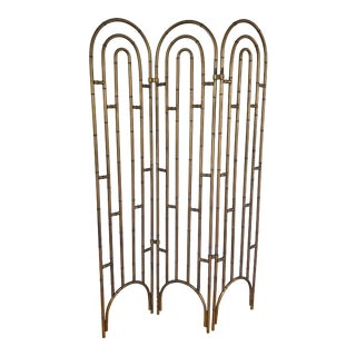 Vintage Faux Bamboo Arched Folding Screen For Sale