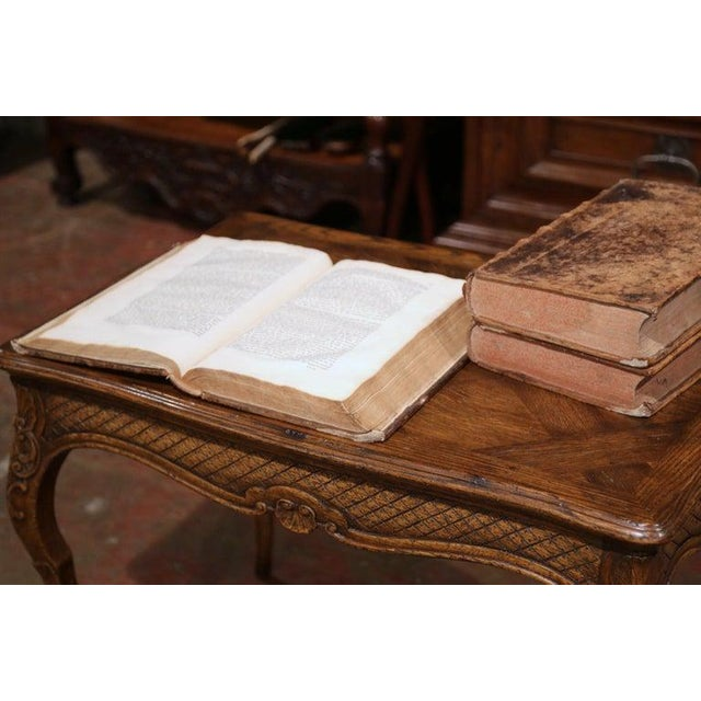 Brown 17th Century French Leather Bound Decorative Books Dated 1692-1700 - Set of 3 For Sale - Image 8 of 11