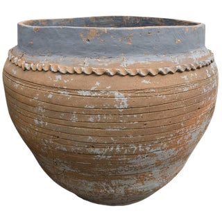 Spanish Terracotta Worn Blue Glaze Planter With Decorative Sculpted Lines For Sale