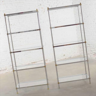 Pair of Vintage Etagere Display Shelves in Chrome and Brass, Manner of Maison Jansen Preview