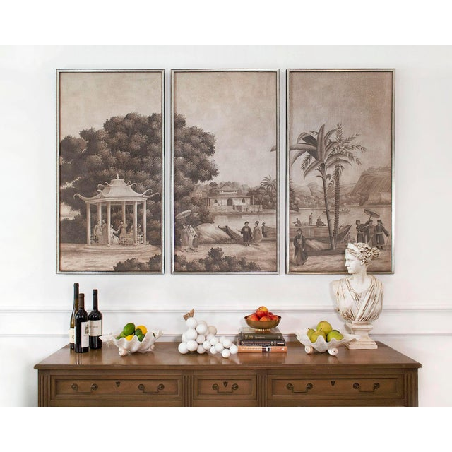 """Jardins en Fleur """"Blue Pagoda Garden"""" Chinoiserie Hand-Painted Panel on Blush Silk Diptych by Simon Paul Scott in Burnished Gold Frame - a Pair For Sale In Los Angeles - Image 6 of 7"""