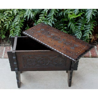 Antique English Carved Oak Foot Stool Bench Lift Top Box Small Table Arts & Crafts Preview